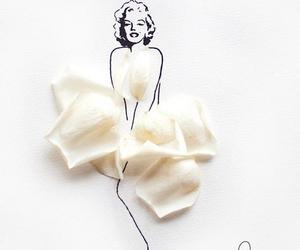 art, Marilyn Monroe, and flowers image