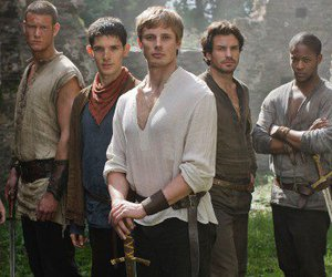 king arthur, knights, and merlin image