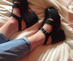 alternative, black shoes, and clothes image