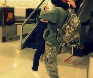 love, couple, and soldier image