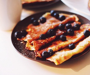 blueberry, breakfast, and crepes image