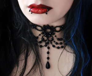 piercing, gothic, and black and white image