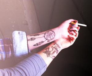 tattoo, smoke, and cigarette image