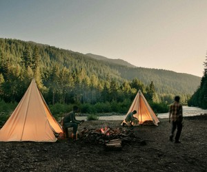 camping, nature, and friends image
