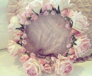 flower crown, roses, and pink image