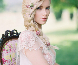 blonde hair, bridal, and Couture image