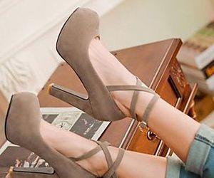 fashion, grey, and heels image