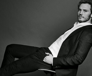 sam claflin and black and white image