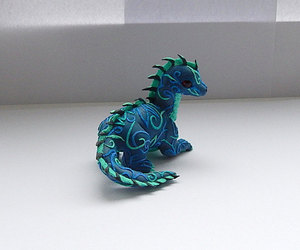 handmade, blue dragon, and polimer clay image