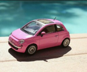 car, fiat 500, and pink image