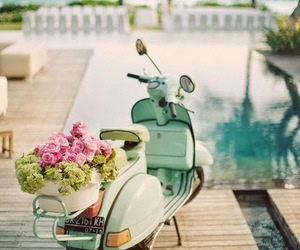 flowers, summer, and Vespa image