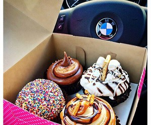 cupcake, food, and bmw image