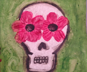 flores, skull, and flowers image