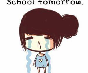 school, tomorrow, and cry image