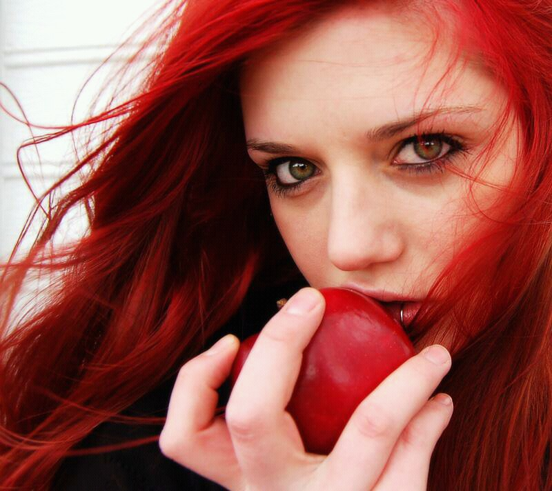 apple, green eyes, and redhair image