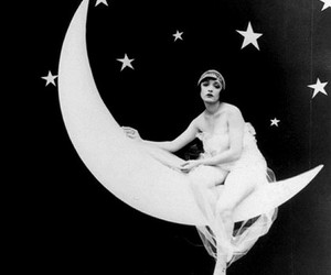 black and white, moon and stars, and ) image