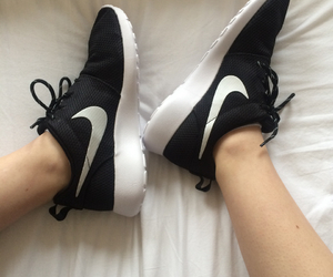 black, nike, and shoes image