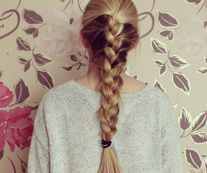 blond, braid, and flowers image