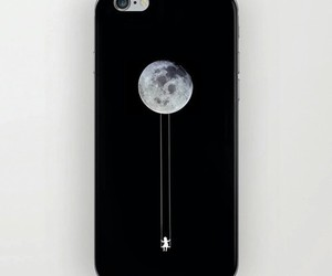 moon, iphone, and black image