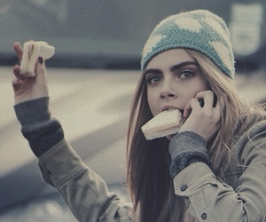 cara delevingne, model, and food image