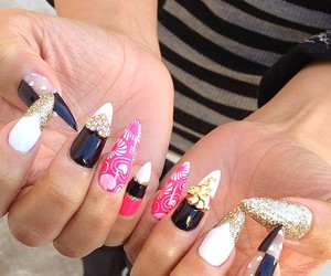 dope, pink nails, and stiletto image