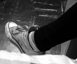 black and white, converse, and mint green image