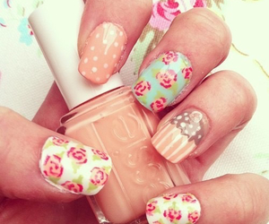 nails, flowers, and cupcake image