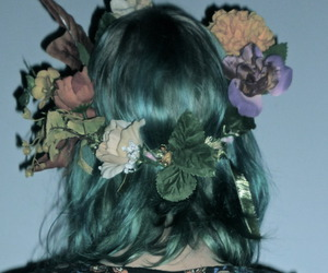 flowers, hair, and grunge image