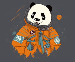 astronaut, panda, and space image
