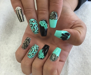 floral design, leopard print, and nail art image