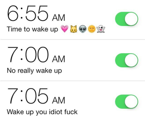 funny, wake up, and alarm image