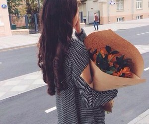 flowers, girl, and love image