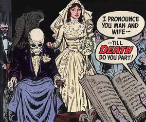 comic, wedding, and goth image