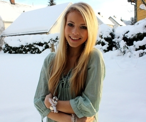 girl, snow, and blonde image