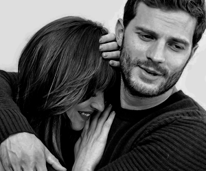 black and white, fifty shades of grey, and anna steele image
