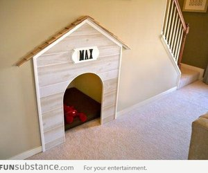 dog, stairs, and dog house image