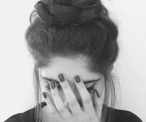 black and white, pretty, and hair image