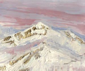 art, mountains, and pink image