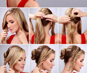 blonde, braid, and haircut image