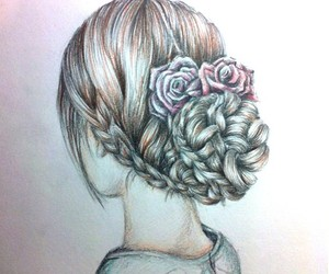drawing, hair, and flowers image