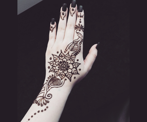 black, henna, and flower image