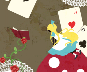 alice in wonderland, wallpaper, and cards image