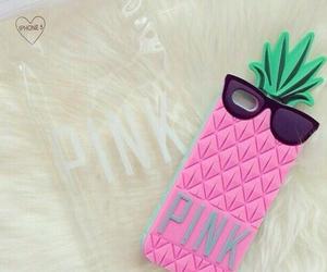 pink, pineapple, and case image