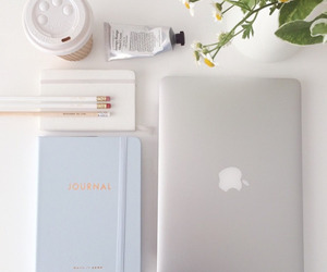 apple, flowers, and notebook image