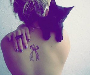 cat, girl, and tatoo image