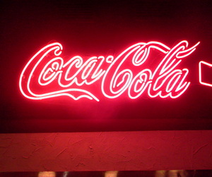 red, neon, and coca cola image