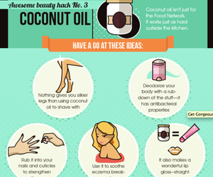 beauty, coconut oil, and tips image