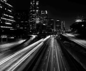 black and white, city, and la image