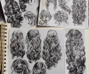 hair, draw, and drawing image