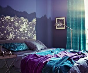 bedroom, purple, and bed image